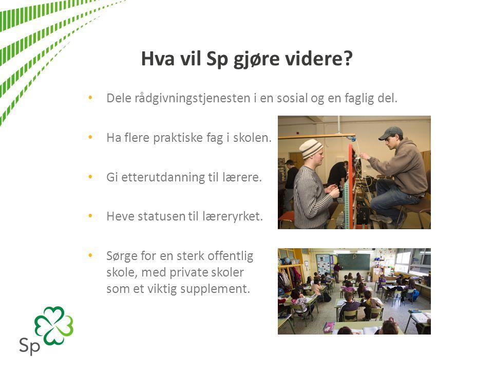 Hva vil Sp gjøre videre? • Dele rådgivningstjenesten i en sosial og en faglig del. • Ha flere praktiske fag i skolen. • Gi etterutdanning til lærere.