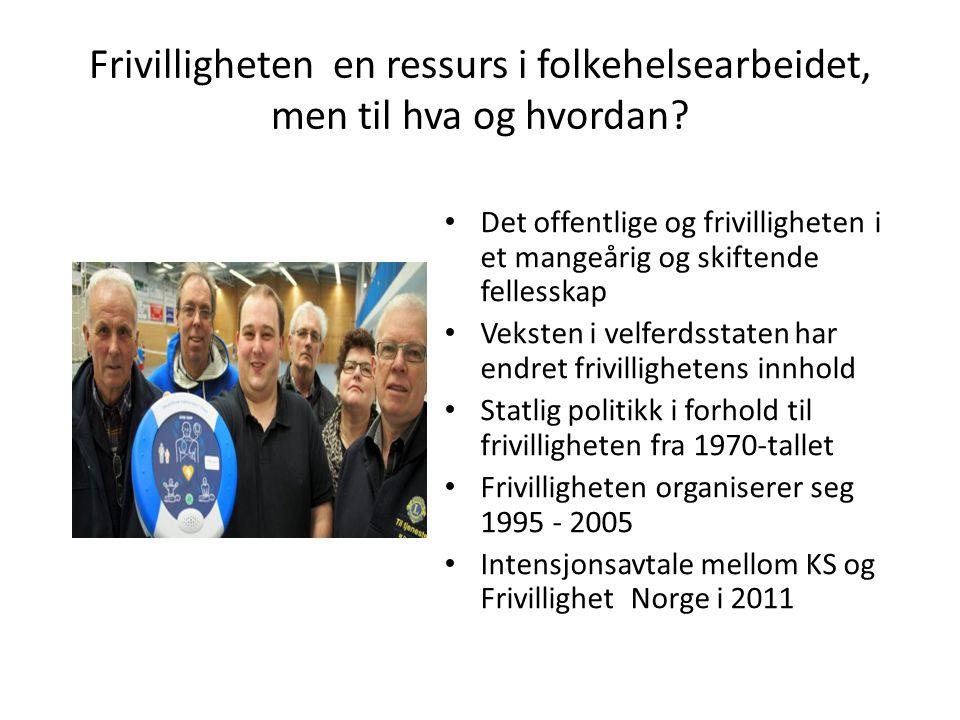 Frivilligheten en ressurs i folkehelsearbeidet, men til hva og hvordan? • Det offentlige og frivilligheten i et mangeårig og skiftende fellesskap • Ve