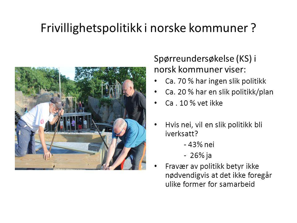 Frivillighetspolitikk i norske kommuner ? Spørreundersøkelse (KS) i norsk kommuner viser: • Ca. 70 % har ingen slik politikk • Ca. 20 % har en slik po