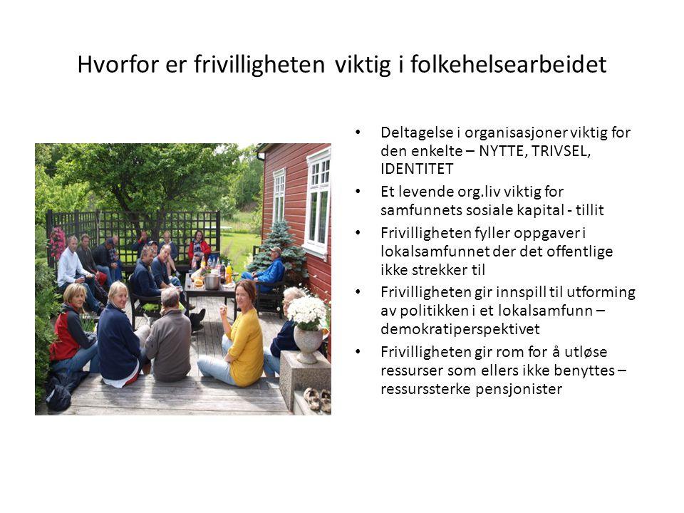 Hvorfor er frivilligheten viktig i folkehelsearbeidet • Deltagelse i organisasjoner viktig for den enkelte – NYTTE, TRIVSEL, IDENTITET • Et levende or