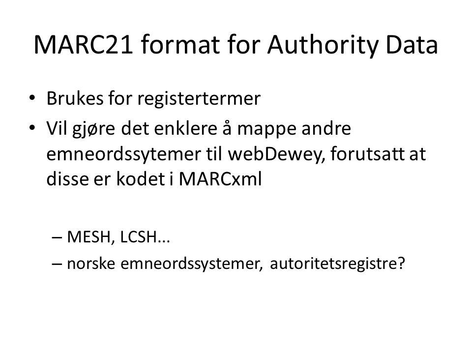 MARC21 format for Authority Data • Brukes for registertermer • Vil gjøre det enklere å mappe andre emneordssytemer til webDewey, forutsatt at disse er