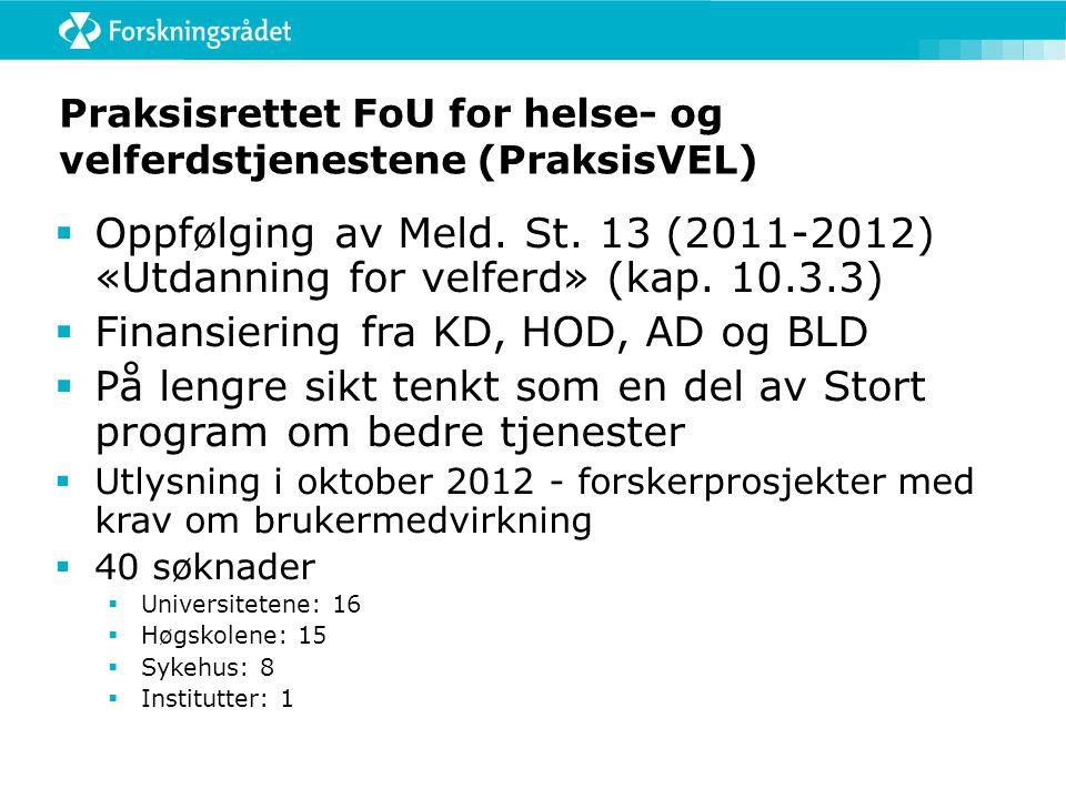 Praksisrettet FoU for helse- og velferdstjenestene (PraksisVEL)  Oppfølging av Meld. St. 13 (2011-2012) «Utdanning for velferd» (kap. 10.3.3)  Finan