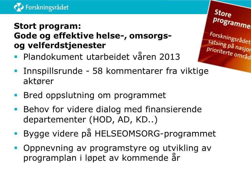 Stort program: Gode og effektive helse-, omsorgs- og velferdstjenester  Plandokument utarbeidet våren 2013  Innspillsrunde - 58 kommentarer fra vikt