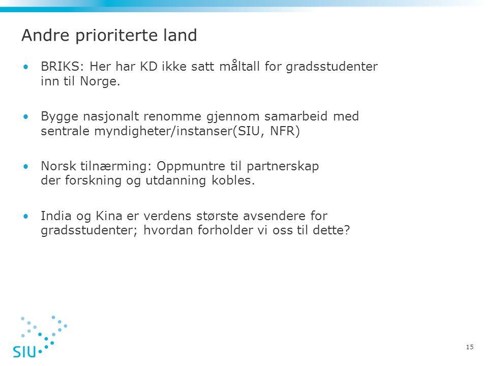 Andre prioriterte land •BRIKS: Her har KD ikke satt måltall for gradsstudenter inn til Norge. •Bygge nasjonalt renomme gjennom samarbeid med sentrale