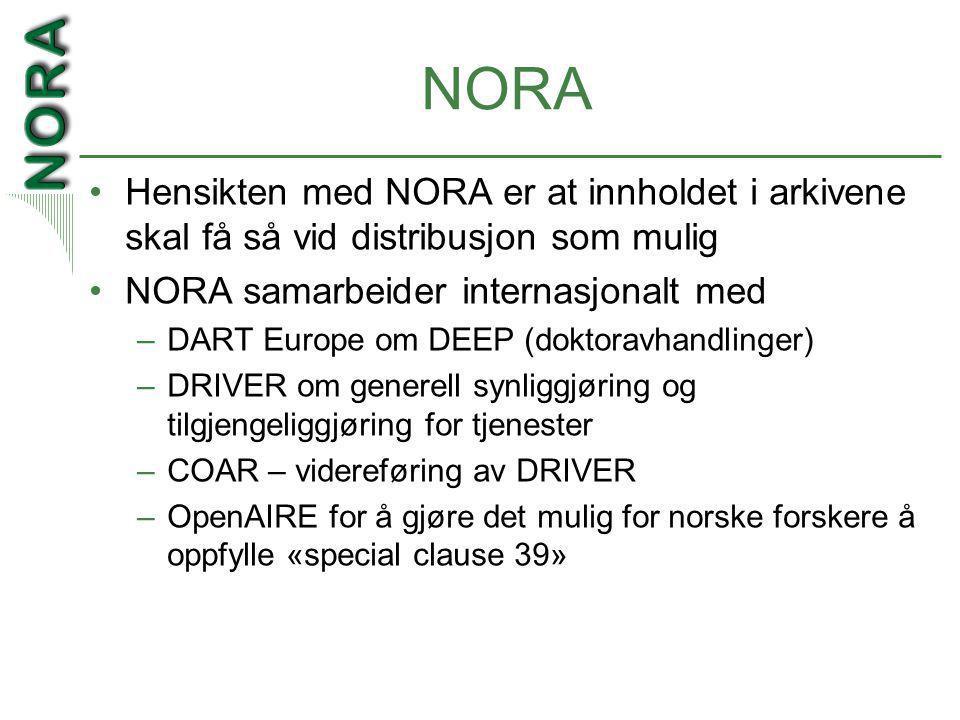 NORA •Hensikten med NORA er at innholdet i arkivene skal få så vid distribusjon som mulig •NORA samarbeider internasjonalt med –DART Europe om DEEP (doktoravhandlinger) –DRIVER om generell synliggjøring og tilgjengeliggjøring for tjenester –COAR – videreføring av DRIVER –OpenAIRE for å gjøre det mulig for norske forskere å oppfylle «special clause 39»