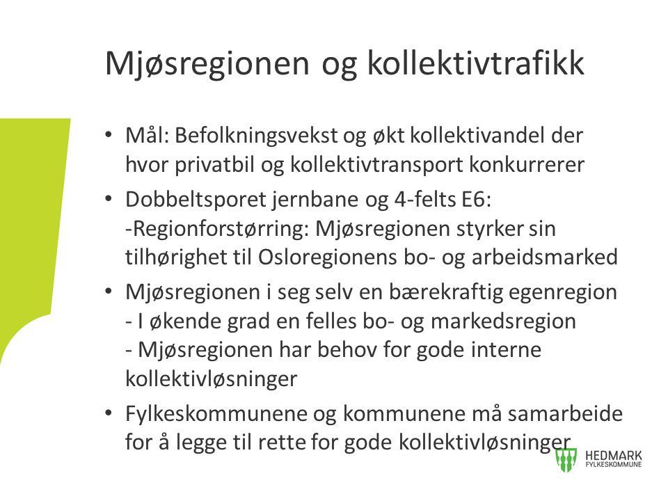 • Mål: Befolkningsvekst og økt kollektivandel der hvor privatbil og kollektivtransport konkurrerer • Dobbeltsporet jernbane og 4-felts E6: -Regionforstørring: Mjøsregionen styrker sin tilhørighet til Osloregionens bo- og arbeidsmarked • Mjøsregionen i seg selv en bærekraftig egenregion - I økende grad en felles bo- og markedsregion - Mjøsregionen har behov for gode interne kollektivløsninger • Fylkeskommunene og kommunene må samarbeide for å legge til rette for gode kollektivløsninger Mjøsregionen og kollektivtrafikk