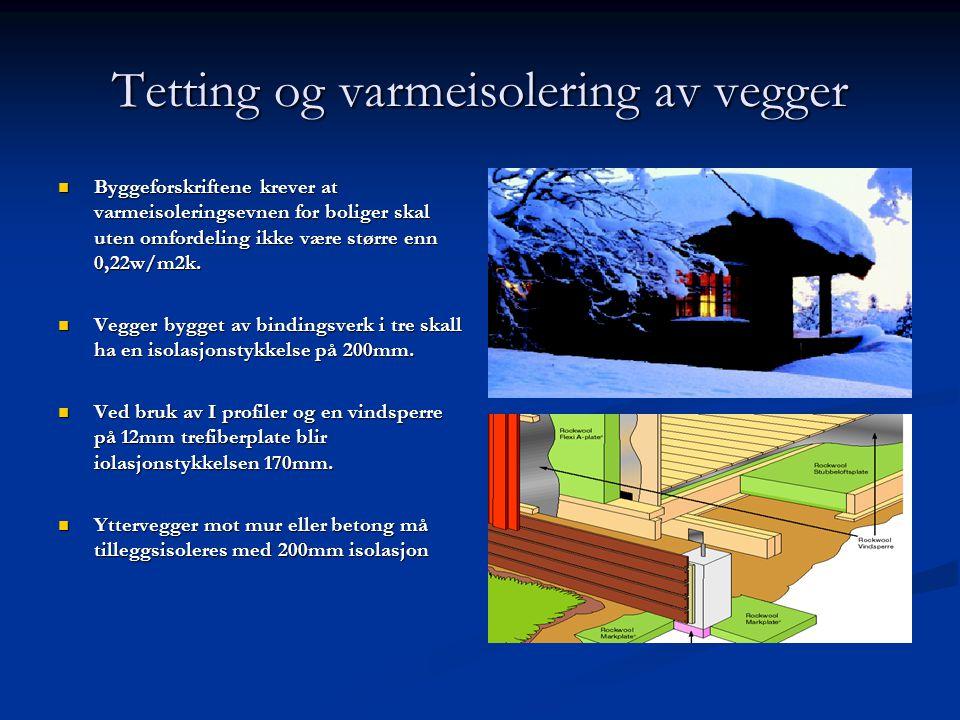 Tetting og varmeisolering av vegger  Byggeforskriftene krever at varmeisoleringsevnen for boliger skal uten omfordeling ikke være større enn 0,22w/m2
