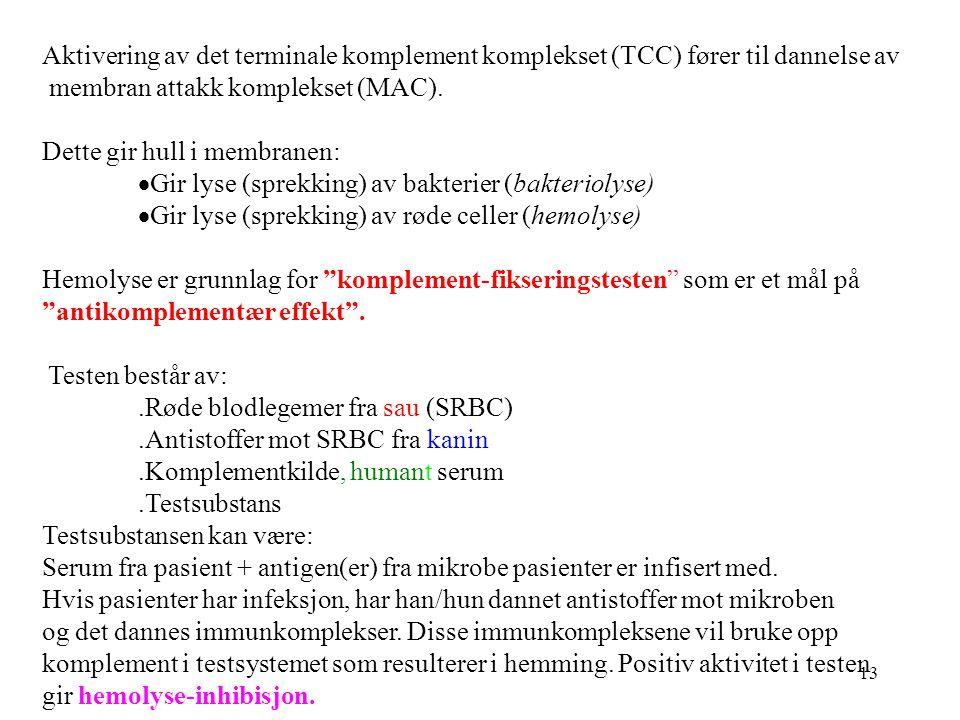 13 Aktivering av det terminale komplement komplekset (TCC) fører til dannelse av membran attakk komplekset (MAC). Dette gir hull i membranen:  Gir ly