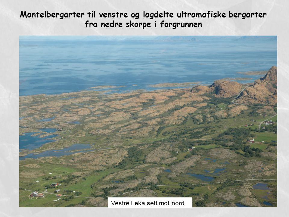 Mantelbergarter til venstre og lagdelte ultramafiske bergarter fra nedre skorpe i forgrunnen Vestre Leka sett mot nord