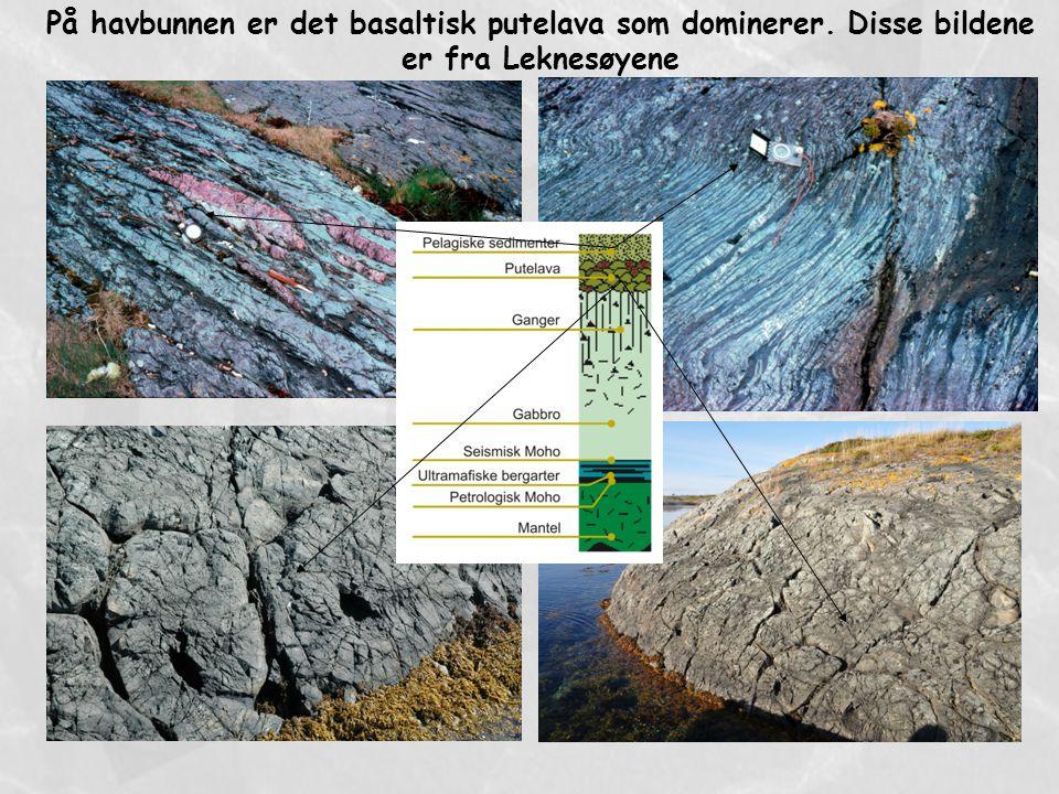 På havbunnen er det basaltisk putelava som dominerer. Disse bildene er fra Leknesøyene