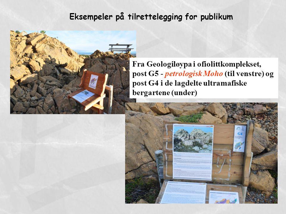 Fra Geologiløypa i ofiolittkomplekset, post G5 - petrologisk Moho (til venstre) og post G4 i de lagdelte ultramafiske bergartene (under) Eksempeler på