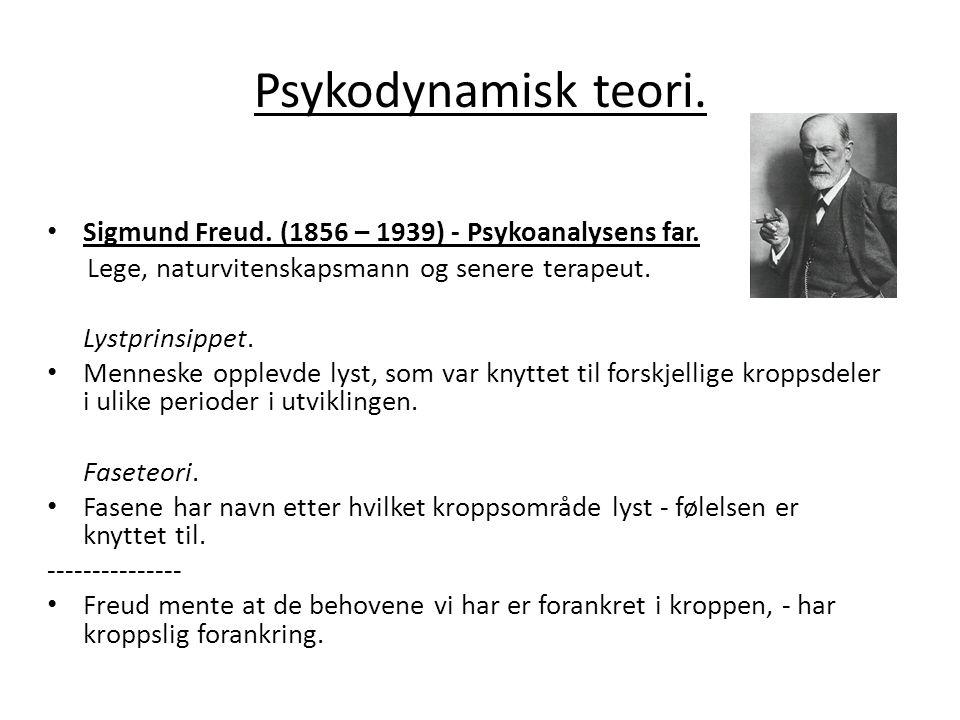 Psykodynamisk teori.• Sigmund Freud. (1856 – 1939) - Psykoanalysens far.