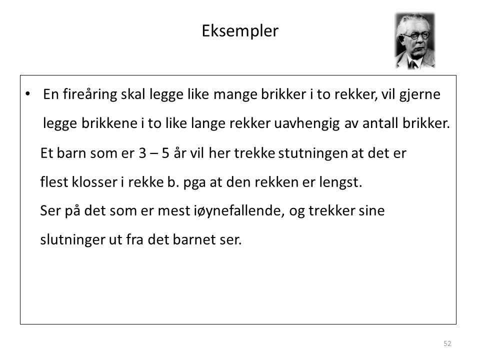 Magne Jensen 200852 Eksempler • En fireåring skal legge like mange brikker i to rekker, vil gjerne legge brikkene i to like lange rekker uavhengig av antall brikker.