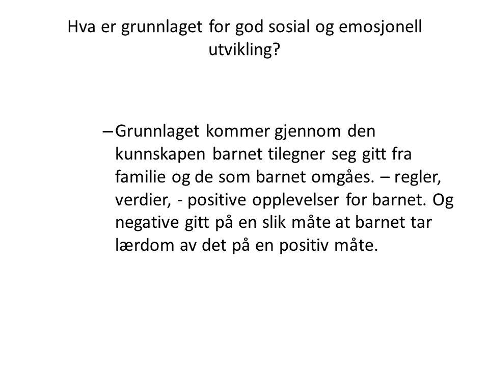 Hva er grunnlaget for god sosial og emosjonell utvikling.