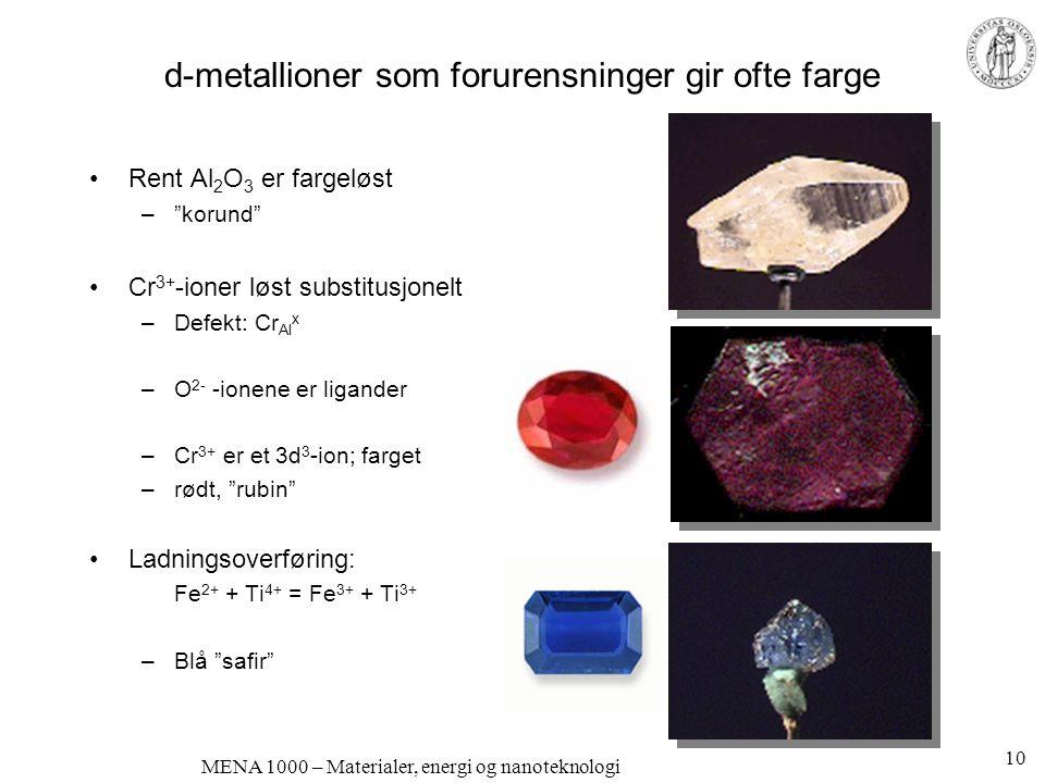 "MENA 1000 – Materialer, energi og nanoteknologi d-metallioner som forurensninger gir ofte farge •Rent Al 2 O 3 er fargeløst –""korund"" •Cr 3+ -ioner lø"