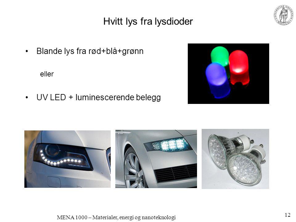 MENA 1000 – Materialer, energi og nanoteknologi Hvitt lys fra lysdioder •Blande lys fra rød+blå+grønn eller •UV LED + luminescerende belegg 12