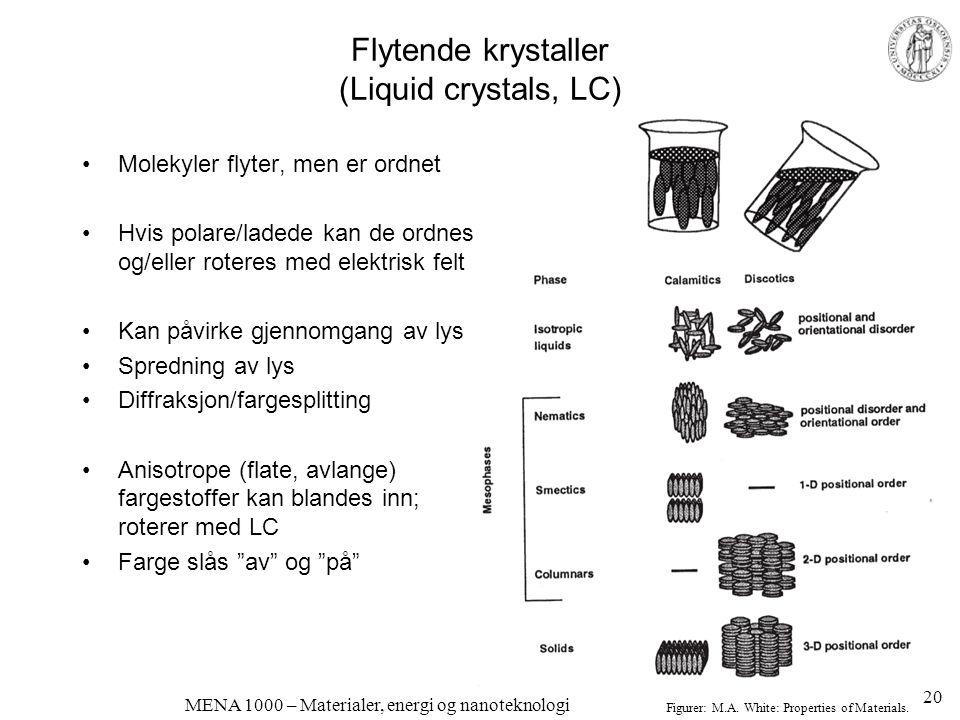 MENA 1000 – Materialer, energi og nanoteknologi Flytende krystaller (Liquid crystals, LC) •Molekyler flyter, men er ordnet •Hvis polare/ladede kan de