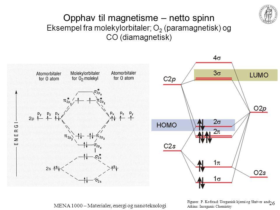 MENA 1000 – Materialer, energi og nanoteknologi Opphav til magnetisme – netto spinn Eksempel fra molekylorbitaler; O 2 (paramagnetisk) og CO (diamagne