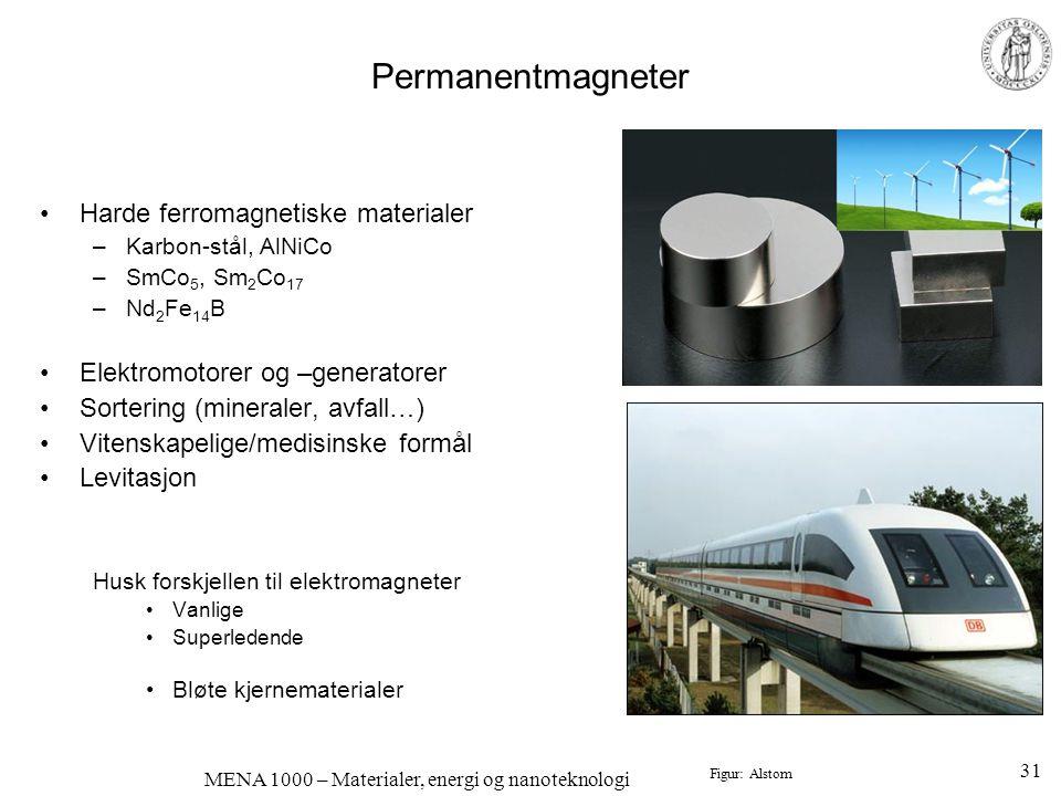 MENA 1000 – Materialer, energi og nanoteknologi Permanentmagneter •Harde ferromagnetiske materialer –Karbon-stål, AlNiCo –SmCo 5, Sm 2 Co 17 –Nd 2 Fe