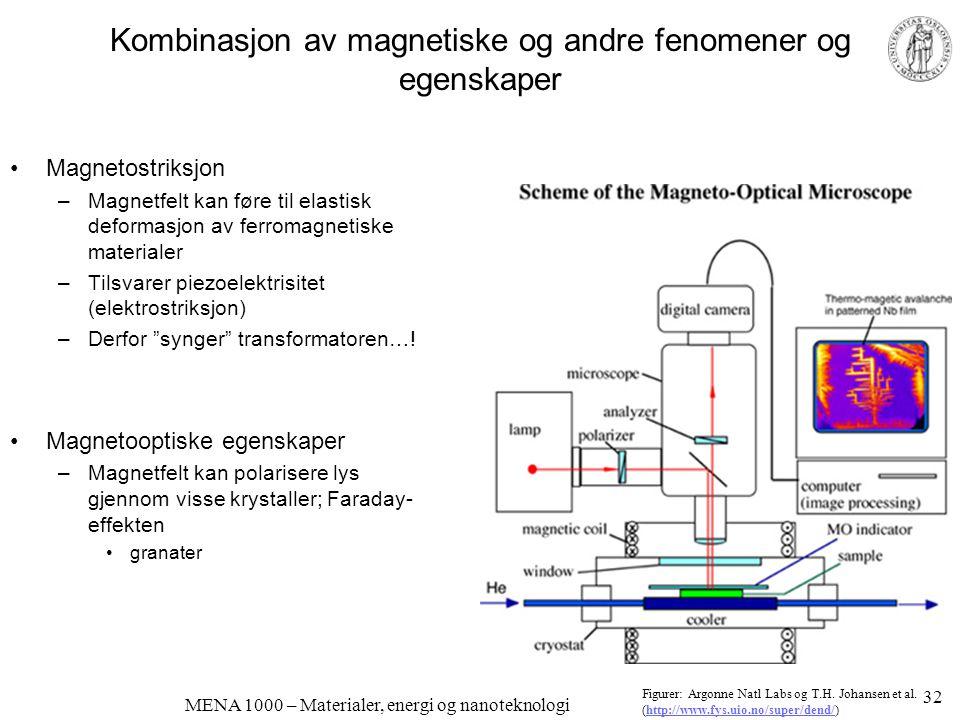 MENA 1000 – Materialer, energi og nanoteknologi Kombinasjon av magnetiske og andre fenomener og egenskaper •Magnetostriksjon –Magnetfelt kan føre til