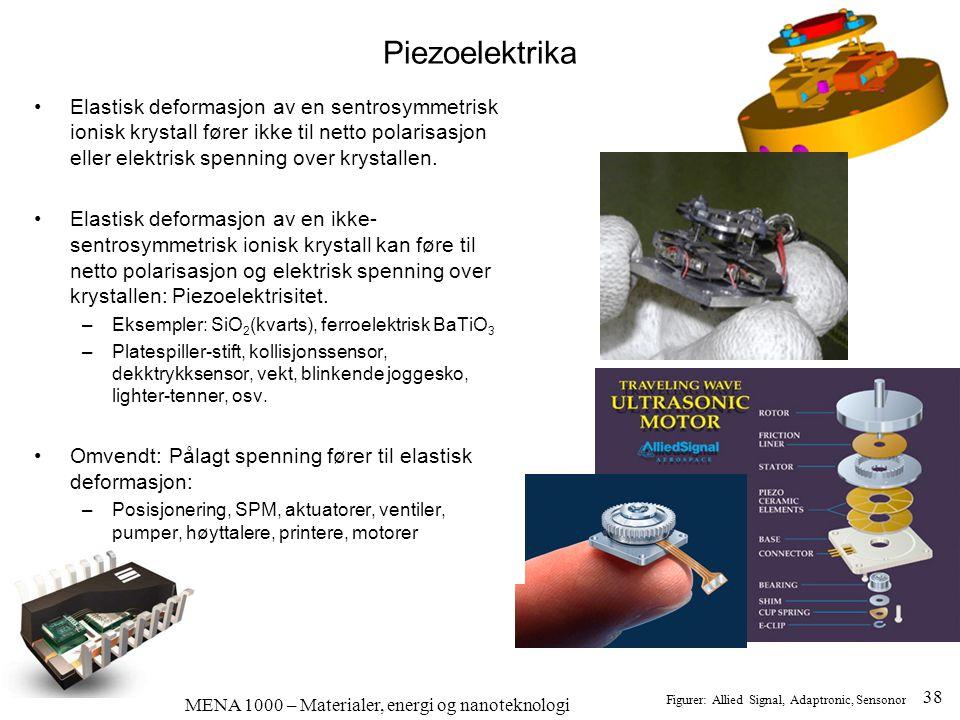 MENA 1000 – Materialer, energi og nanoteknologi Piezoelektrika Figurer: Allied Signal, Adaptronic, Sensonor •Elastisk deformasjon av en sentrosymmetri