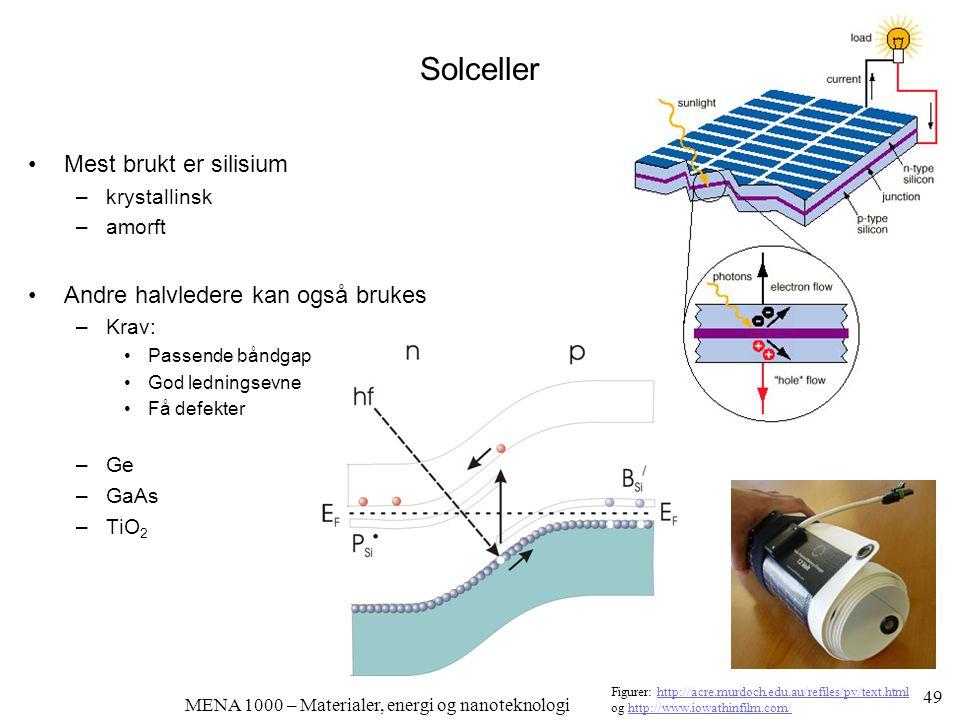 MENA 1000 – Materialer, energi og nanoteknologi Solceller •Mest brukt er silisium –krystallinsk –amorft •Andre halvledere kan også brukes –Krav: •Pass