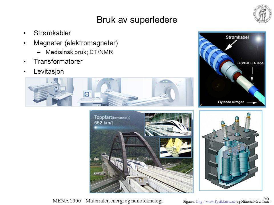 MENA 1000 – Materialer, energi og nanoteknologi Bruk av superledere •Strømkabler •Magneter (elektromagneter) –Medisinsk bruk; CT/NMR •Transformatorer
