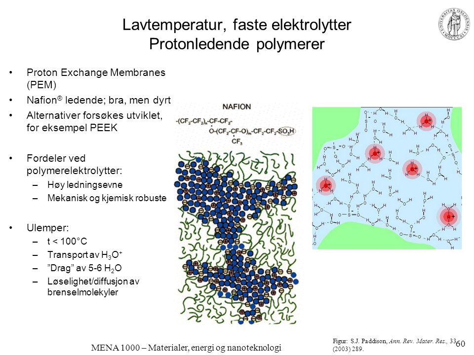 MENA 1000 – Materialer, energi og nanoteknologi Lavtemperatur, faste elektrolytter Protonledende polymerer •Proton Exchange Membranes (PEM) •Nafion ®