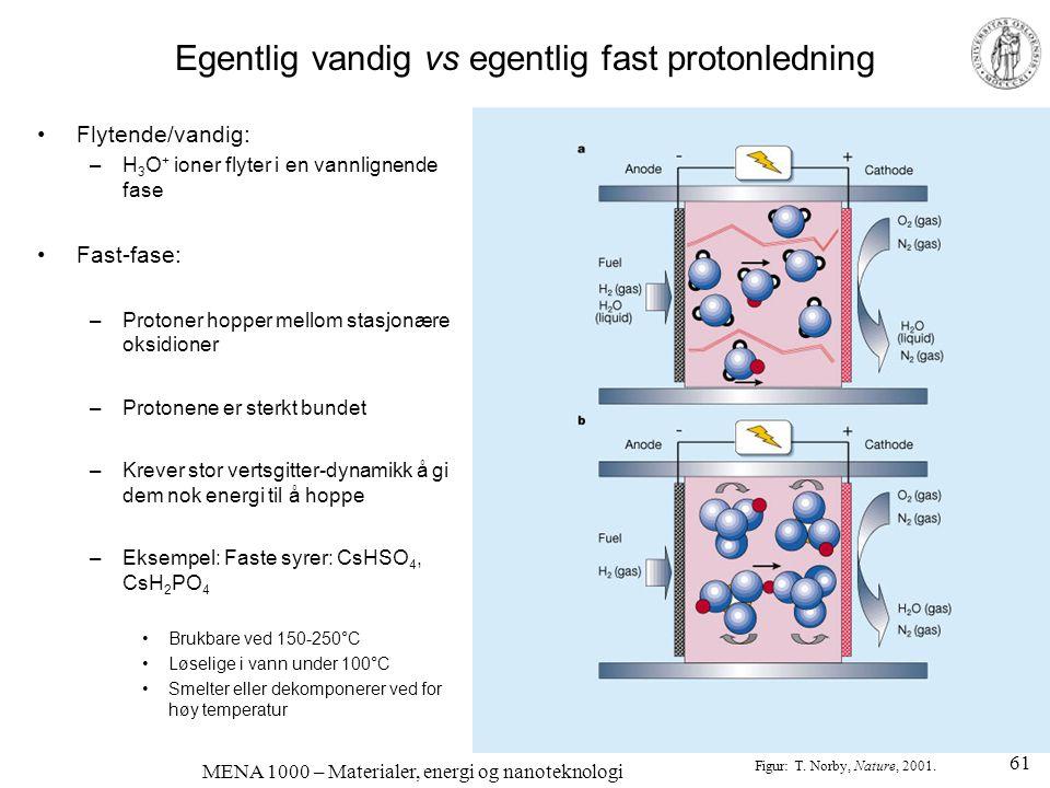 MENA 1000 – Materialer, energi og nanoteknologi Egentlig vandig vs egentlig fast protonledning •Flytende/vandig: –H 3 O + ioner flyter i en vannlignen