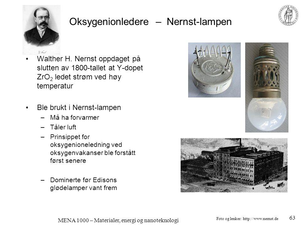 MENA 1000 – Materialer, energi og nanoteknologi Oksygenionledere – Nernst-lampen •Walther H. Nernst oppdaget på slutten av 1800-tallet at Y-dopet ZrO