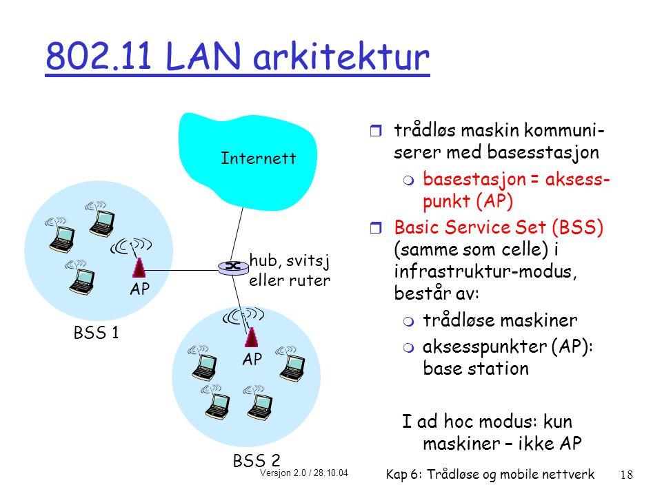 Versjon 2.0 / 28.10.04 Kap 6: Trådløse og mobile nettverk18 802.11 LAN arkitektur r trådløs maskin kommuni- serer med basesstasjon m basestasjon = aksess- punkt (AP) r Basic Service Set (BSS) (samme som celle) i infrastruktur-modus, består av: m trådløse maskiner m aksesspunkter (AP): base station I ad hoc modus: kun maskiner – ikke AP BSS 1 BSS 2 Internett hub, svitsj eller ruter AP