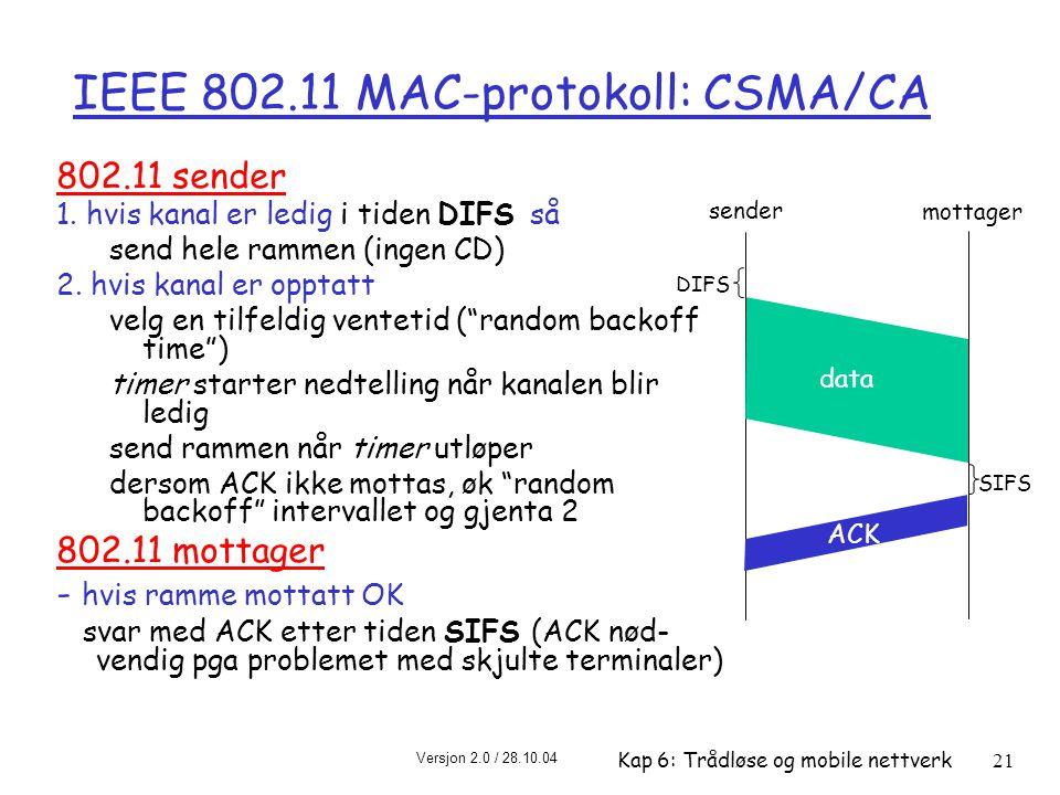 Versjon 2.0 / 28.10.04 Kap 6: Trådløse og mobile nettverk21 IEEE 802.11 MAC-protokoll: CSMA/CA 802.11 sender 1.