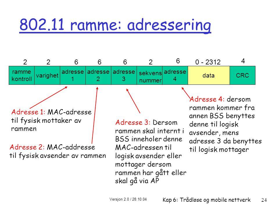 Versjon 2.0 / 28.10.04 Kap 6: Trådløse og mobile nettverk24 ramme kontroll varighet adresse 1 adresse 2 adresse 4 adresse 3 dataCRC 226662 6 0 - 2312 4 sekvens nummer 802.11 ramme: adressering Adresse 2: MAC-addresse til fysisk avsender av rammen Adresse 1: MAC-adresse til fysisk mottaker av rammen Adresse 3: Dersom rammen skal internt i BSS inneholer denne MAC-adressen til logisk avsender eller mottager dersom rammen har gått eller skal gå via AP Adresse 4: dersom rammen kommer fra annen BSS benyttes denne til logisk avsender, mens adresse 3 da benyttes til logisk mottager