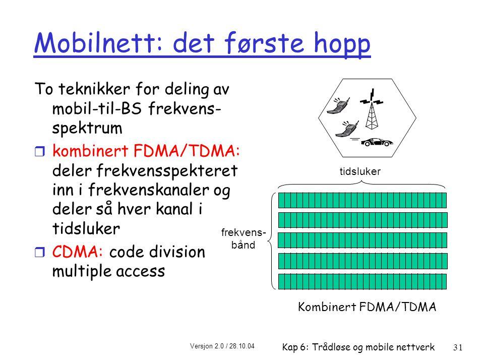 Versjon 2.0 / 28.10.04 Kap 6: Trådløse og mobile nettverk31 Mobilnett: det første hopp To teknikker for deling av mobil-til-BS frekvens- spektrum r kombinert FDMA/TDMA: deler frekvensspekteret inn i frekvenskanaler og deler så hver kanal i tidsluker r CDMA: code division multiple access frekvens- bånd tidsluker Kombinert FDMA/TDMA