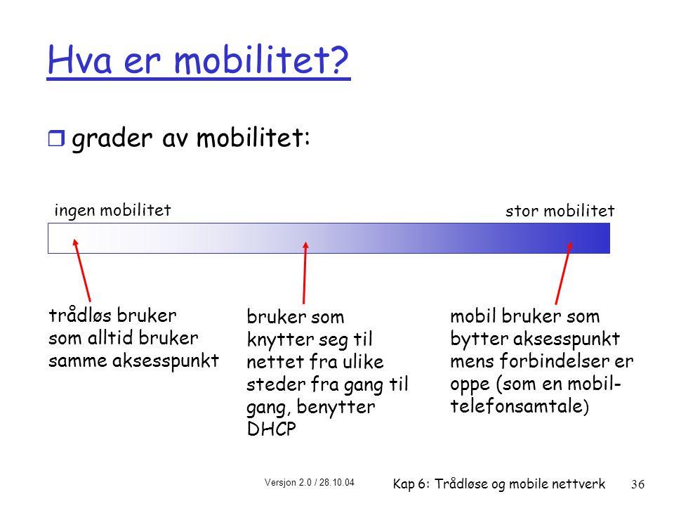 Versjon 2.0 / 28.10.04 Kap 6: Trådløse og mobile nettverk36 Hva er mobilitet.