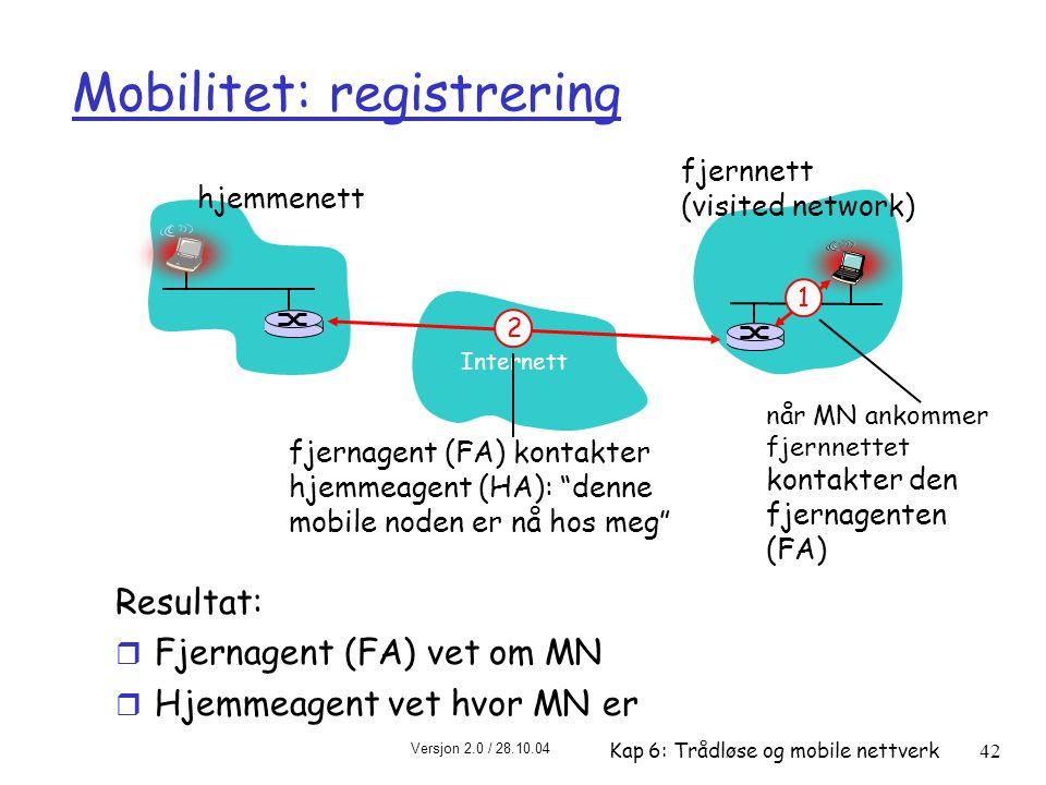 Versjon 2.0 / 28.10.04 Kap 6: Trådløse og mobile nettverk42 Mobilitet: registrering Resultat: r Fjernagent (FA) vet om MN r Hjemmeagent vet hvor MN er Internett hjemmenett fjernnett (visited network) 1 når MN ankommer fjernnettet kontakter den fjernagenten (FA) 2 fjernagent (FA) kontakter hjemmeagent (HA): denne mobile noden er nå hos meg