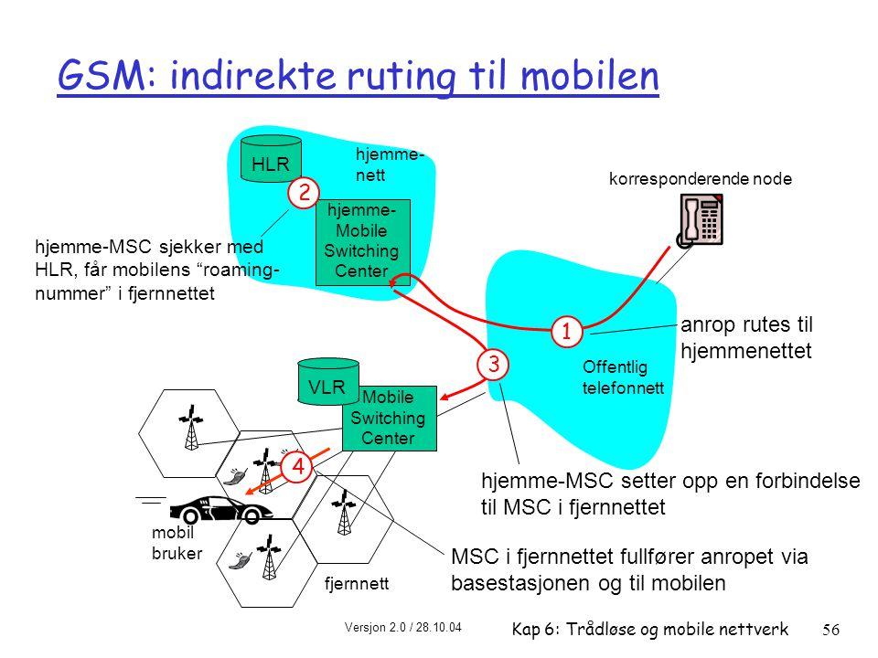Versjon 2.0 / 28.10.04 Kap 6: Trådløse og mobile nettverk56 Offentlig telefonnett mobil bruker hjemme- Mobile Switching Center HLR hjemme- nett fjernnett korresponderende node Mobile Switching Center VLR GSM: indirekte ruting til mobilen 1 anrop rutes til hjemmenettet 2 hjemme-MSC sjekker med HLR, får mobilens roaming- nummer i fjernnettet 3 hjemme-MSC setter opp en forbindelse til MSC i fjernnettet 4 MSC i fjernnettet fullfører anropet via basestasjonen og til mobilen