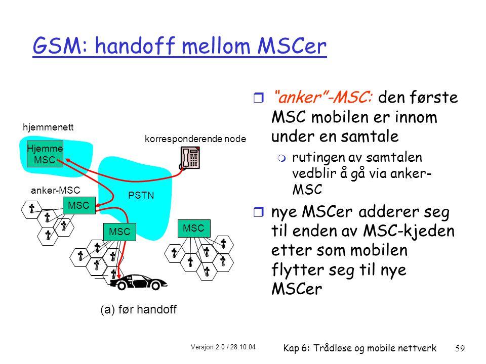 Versjon 2.0 / 28.10.04 Kap 6: Trådløse og mobile nettverk59 hjemmenett Hjemme MSC PSTN korresponderende node MSC anker-MSC MSC (a) før handoff GSM: handoff mellom MSCer r anker -MSC: den første MSC mobilen er innom under en samtale m rutingen av samtalen vedblir å gå via anker- MSC r nye MSCer adderer seg til enden av MSC-kjeden etter som mobilen flytter seg til nye MSCer