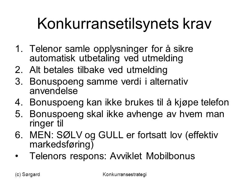 (c) SørgardKonkurransestrategi Konkurransetilsynets krav 1.Telenor samle opplysninger for å sikre automatisk utbetaling ved utmelding 2.Alt betales ti