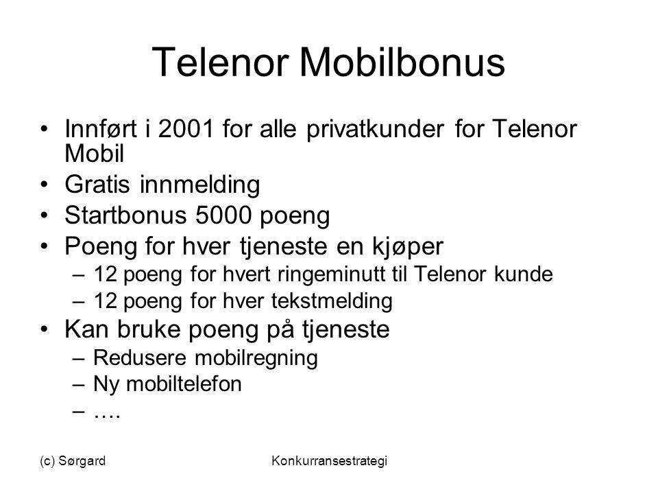 (c) SørgardKonkurransestrategi Telenor Mobilbonus •Innført i 2001 for alle privatkunder for Telenor Mobil •Gratis innmelding •Startbonus 5000 poeng •P