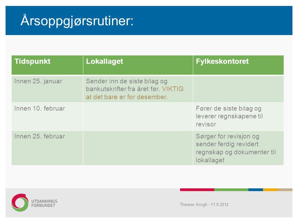 Årsoppgjørsrutiner: Therese Krogh - 11.9.2012 TidspunktLokallagetFylkeskontoret Innen 25.