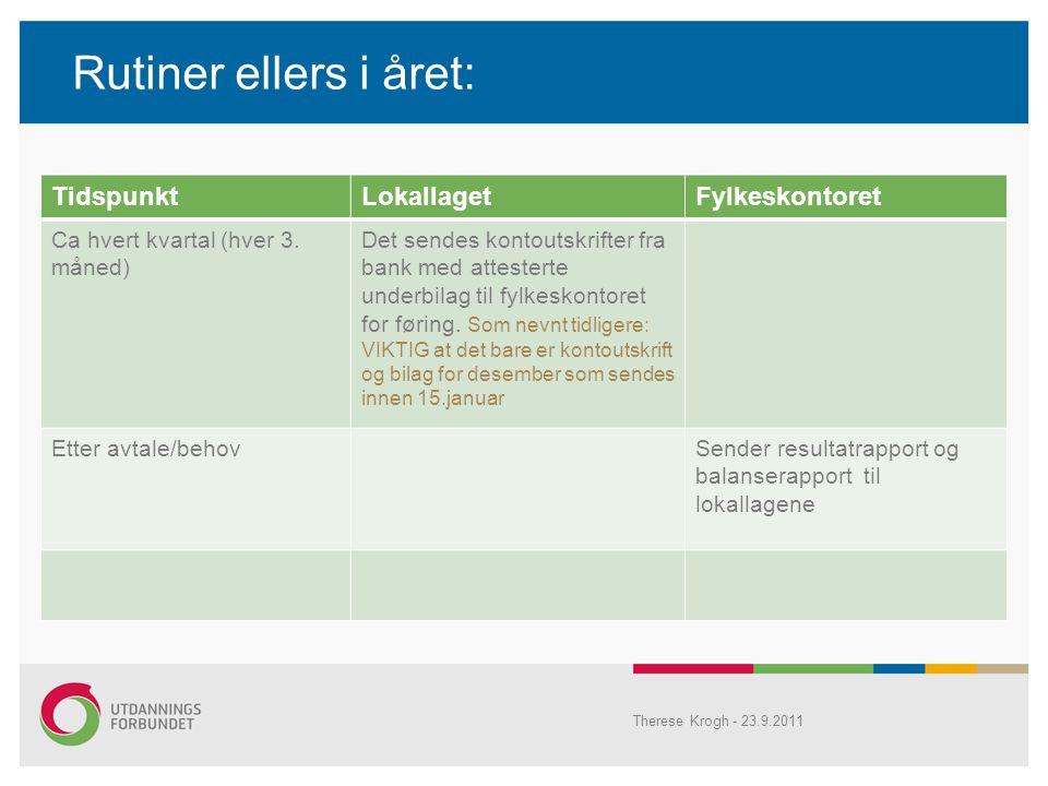 Rutiner ellers i året: Therese Krogh - 23.9.2011 TidspunktLokallagetFylkeskontoret Ca hvert kvartal (hver 3.
