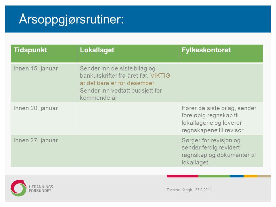 Årsoppgjørsrutiner: Therese Krogh - 23.9.2011 TidspunktLokallagetFylkeskontoret Innen 15.