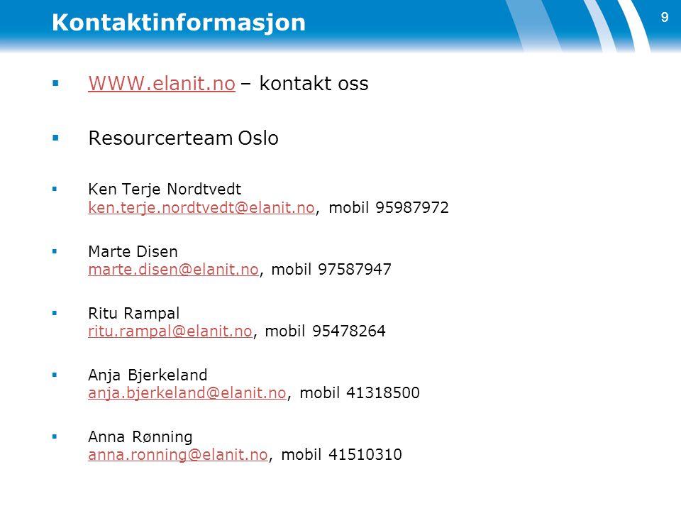 Kontaktinformasjon  WWW.elanit.no – kontakt oss WWW.elanit.no  Resourcerteam Oslo  Ken Terje Nordtvedt ken.terje.nordtvedt@elanit.no, mobil 9598797