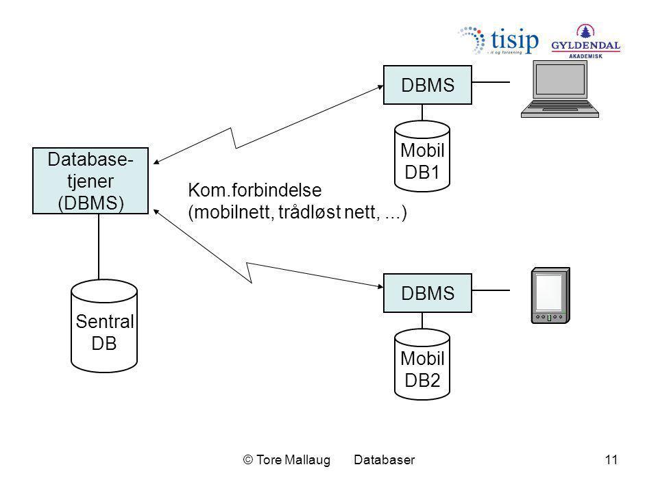 © Tore Mallaug Databaser11 DBMS Mobil DB1 laptop DBMS Mobil DB2 Database- tjener (DBMS) Sentral DB Kom.forbindelse (mobilnett, trådløst nett,...)