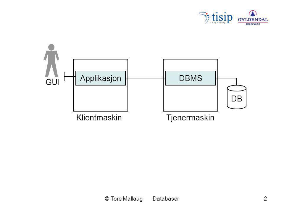 © Tore Mallaug Databaser3 Database- tjener (DBMS) DB SQL Klient (applikasjon) GUI Datanett 1 4 3 2 5 6