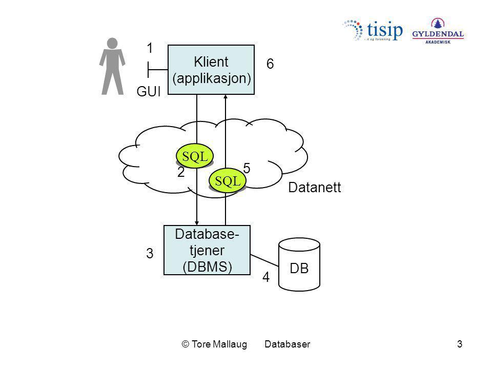 © Tore Mallaug Databaser4 Database- tjener (DBMS) DB XML Klient (applikasjon) GUI Datanett Tjener (mellomnivå) SQL XML 1 3 2 4