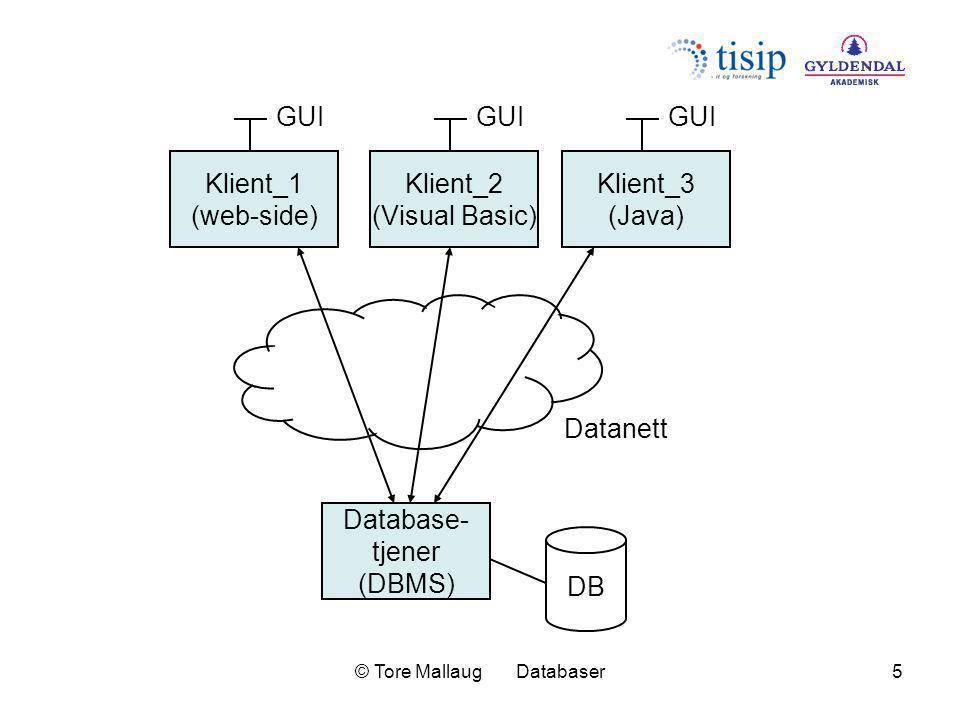 © Tore Mallaug Databaser6 Database- tjener_1 DB1 Klient_1 (web-side) GUI Datanett Klient_2 (Visual Basic) GUI Klient_3 (Java) GUI Database- tjener_2 DB2