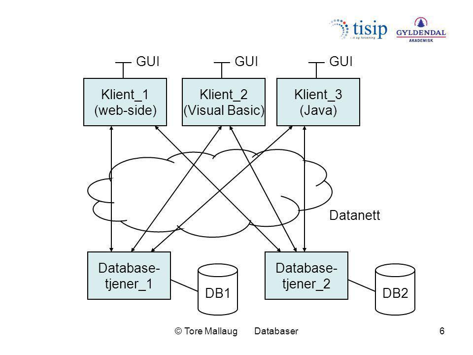 © Tore Mallaug Databaser7 Database- tjener_1 DB1 Klient_1 (web-side) GUI Datanett Klient_2 (Visual Basic) GUI Klient_3 (Java) GUI Database- tjener_2 DB2 Tjener (mellomnivå)