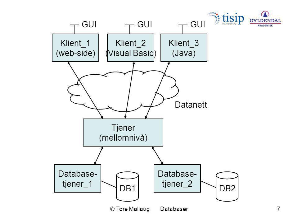 © Tore Mallaug Databaser7 Database- tjener_1 DB1 Klient_1 (web-side) GUI Datanett Klient_2 (Visual Basic) GUI Klient_3 (Java) GUI Database- tjener_2 D